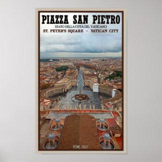 Opinión cuadrada de la Ciudad del Vaticano - St Pe Póster