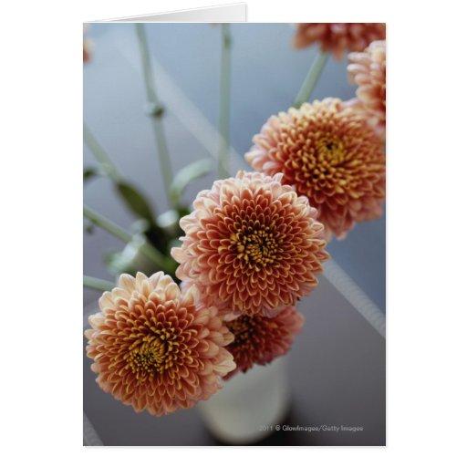 Opinión de alto ángulo de flores en un florero tarjetón
