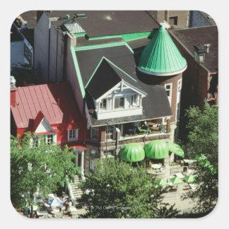 Opinión de alto ángulo de la vecindad, Canadá Pegatina Cuadradas