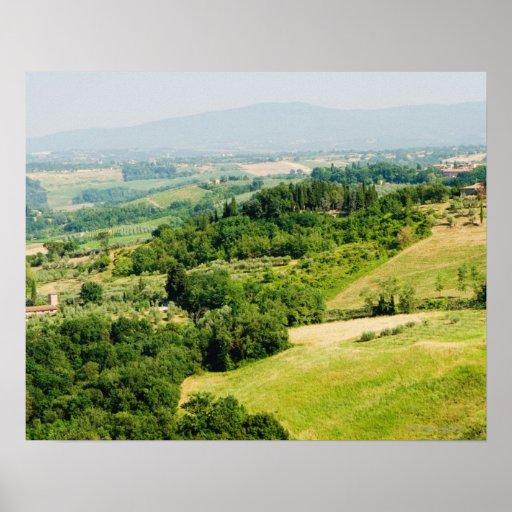 Opinión de alto ángulo de un paisaje, provincia de poster
