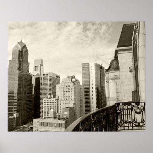 Opinión de alto ángulo en Philadelphia céntrica Impresiones