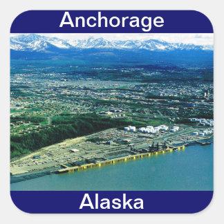 Opinión de Anchorage, Alaska Pegatina Cuadrada