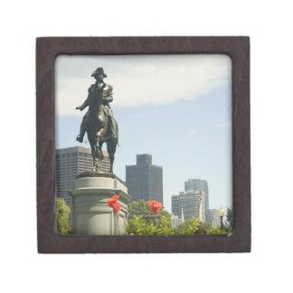Opinión de ángulo bajo de una estatua en el jardín caja de regalo de calidad