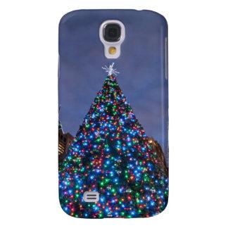 Opinión de ángulo bajo en el árbol de navidad ilum funda para galaxy s4