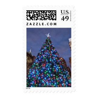 Opinión de ángulo bajo en el árbol de navidad sello