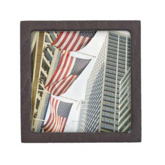 Opinión de ángulo bajo en las banderas americanas  caja de joyas de calidad