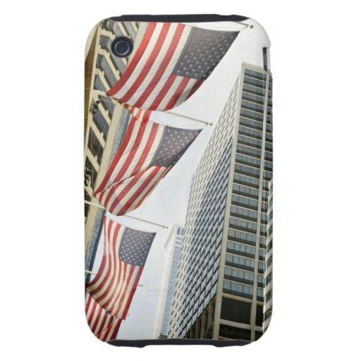 Opinión de ángulo bajo en las banderas americanas  iPhone 3 tough cárcasas