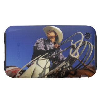 Opinión de ángulo bajo un vaquero que monta un iPhone 3 tough protector