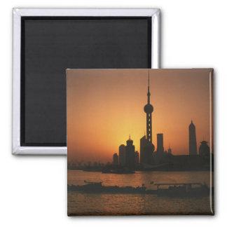 Opinión de ASIA, China, Shangai de la perla orient Imán Cuadrado
