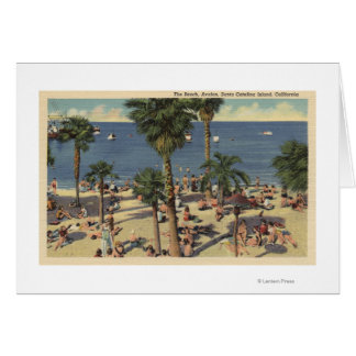 Opinión de Avalon de la playa con los Sunbathers Tarjeta
