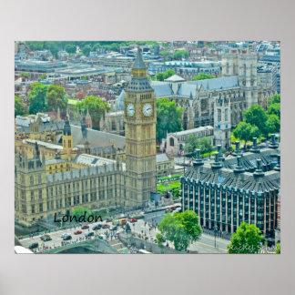 Opinión de Birdseye de Londres Póster