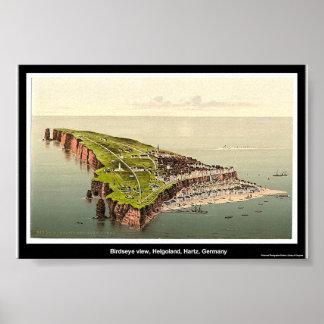 Opinión de Birdseye, Helgoland, Hartz, Alemania Póster