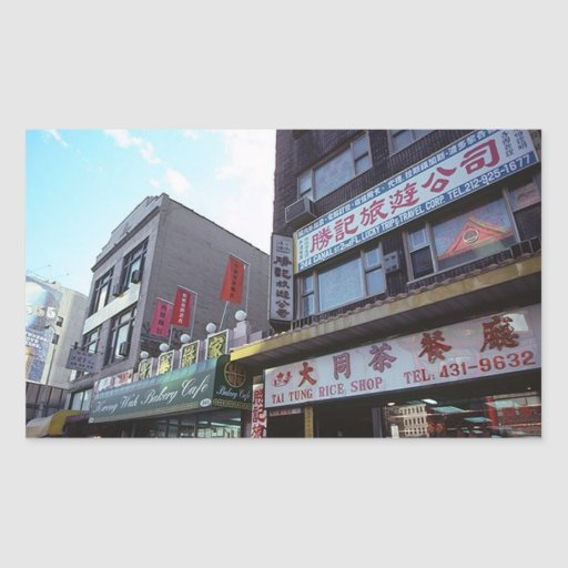 Opinión de Chinatown del Canal Street del vintage Pegatina Rectangular