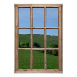 Opinión de colina verde de una ventana posters