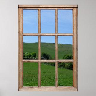 Opinión de colina verde de una ventana póster