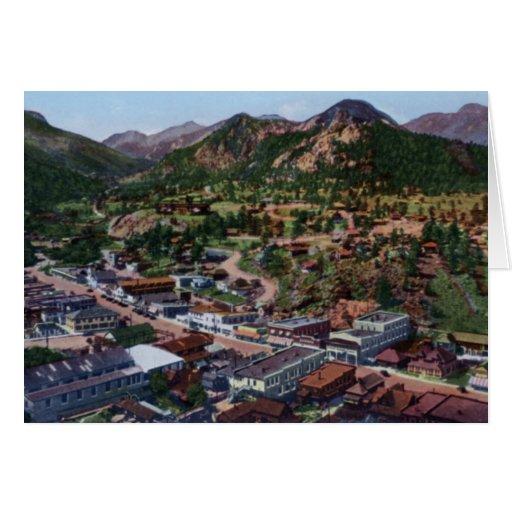 Opinión de Colorado Birdseye del parque de Estes Tarjetón
