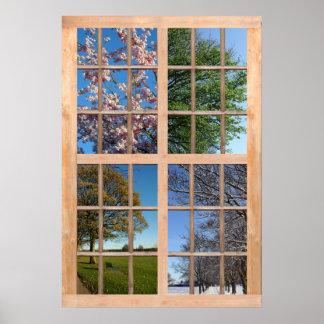 Opinión de cuatro estaciones de una ventana posters