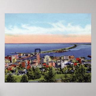 Opinión de Duluth Minnesota Birdseye de la impulsi Póster