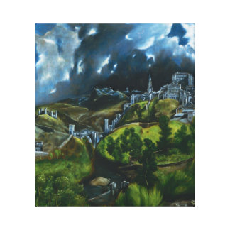 Opinión de El Greco del abrigo de la lona de Toled Impresión En Tela