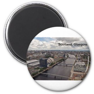 Opinión de Escocia de la torre de Glasgow (St.K.) Imán Redondo 5 Cm