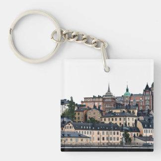 Opinión de Estocolmo Llavero Cuadrado Acrílico A Doble Cara