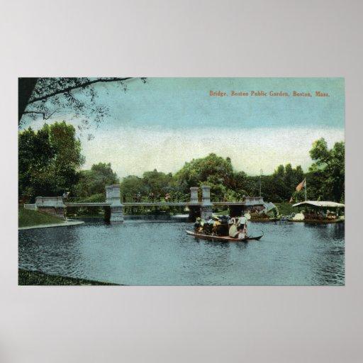 Opinión de jardín público de Boston del puente Posters