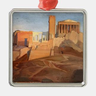 Opinión de Jean Ingres- de la acrópolis de Atenas Adorno Cuadrado Plateado
