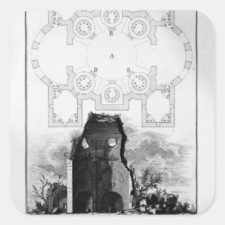 Opinión de Juan Piranesi- de la tumba del Scipios Calcomanías Cuadradases