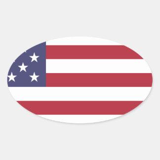 Opinión de la bandera americana, entera o del pegatina ovalada