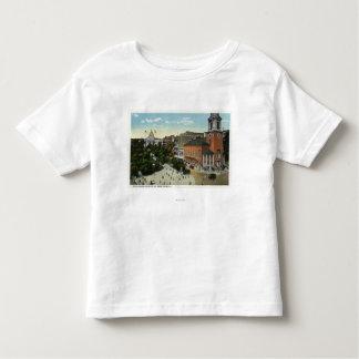 Opinión de la calle de la casa y del parque del t-shirts