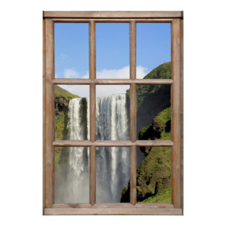 Opinión de la cascada de una ventana impresiones