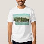 Opinión de la ciudad, barcos de la costa de vela poleras
