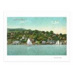 Opinión de la ciudad, barcos de la costa de vela postales