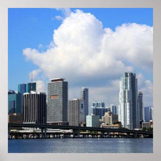 Opinión de la costa de Miami Póster