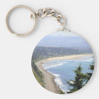 Opinión de la costa de Oregon Llavero Redondo Tipo Pin