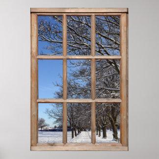 Opinión de la escena de la nieve de una ventana póster