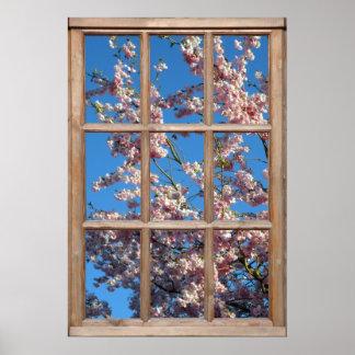 Opinión de la flor de cerezo de una ventana impresiones