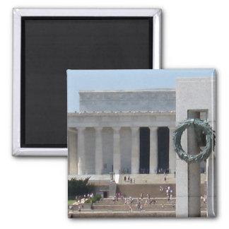 Opinión de la foto del Lincoln memorial de WWII me Imán Cuadrado