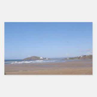 Opinión de la isla del municipio escocés de la pla rectangular pegatina