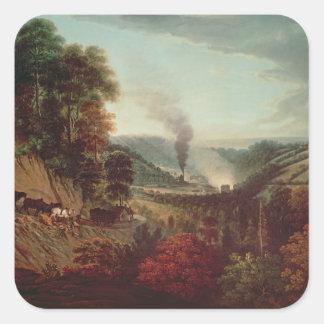 Opinión de la mañana Coalbrookdale, 1777 Pegatina Cuadrada
