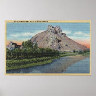 Opinión de la mota y del río de Malheur, Oregon Póster