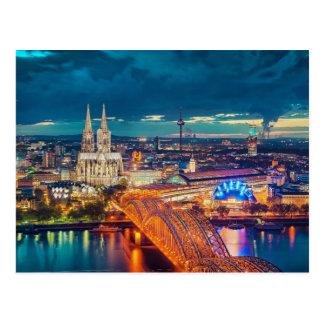 Opinión de la noche de Colonia Alemania Tarjeta Postal
