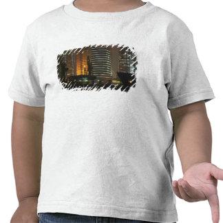 Opinión de la noche de highrises en la nueva área camiseta