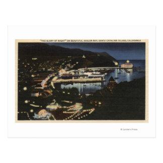 Opinión de la noche de la bahía de Avalon Tarjetas Postales