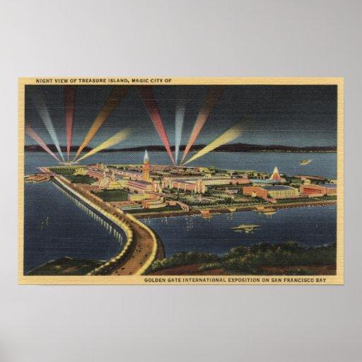 Opinión de la noche de la isla del tesoro, expo de póster