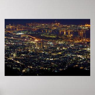 Opinión de la noche de la isla y de Higashinada-ku Posters