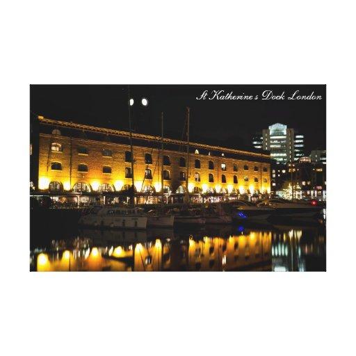 Opinión de la noche de Londres del muelle del St K Lienzo Envuelto Para Galerías