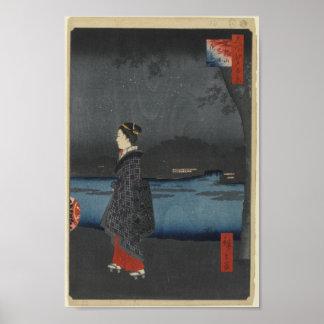 Opinión de la noche de Matsuchiyama y del canal de Póster