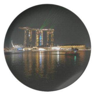Opinión de la noche de Singapur Plato De Comida