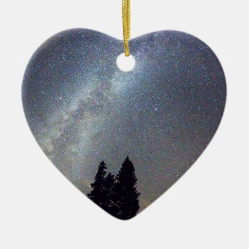Opinión de la noche de Stary de la vía láctea de Adorno Navideño De Cerámica En Forma De Corazón